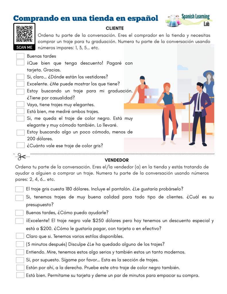 medium resolution of Shopping in Spanish at a Store - PDF Worksheet - SpanishLearningLab