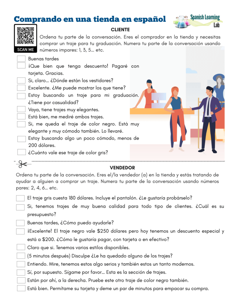 hight resolution of Shopping in Spanish at a Store - PDF Worksheet - SpanishLearningLab
