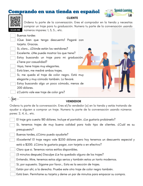 small resolution of Shopping in Spanish at a Store - PDF Worksheet - SpanishLearningLab