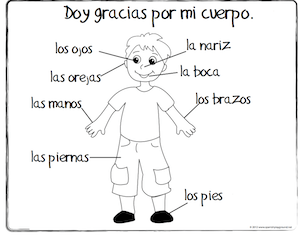 Spanish Thanksgiving Vocabulary Coloring Pages  Spanish