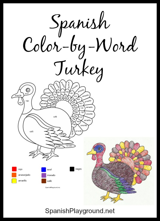 Spanish Colors Thanksgiving Color By Word Spanish