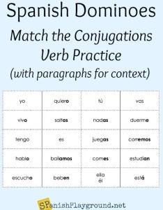 Spanish verb games conjugation dominoes also playground rh spanishplayground