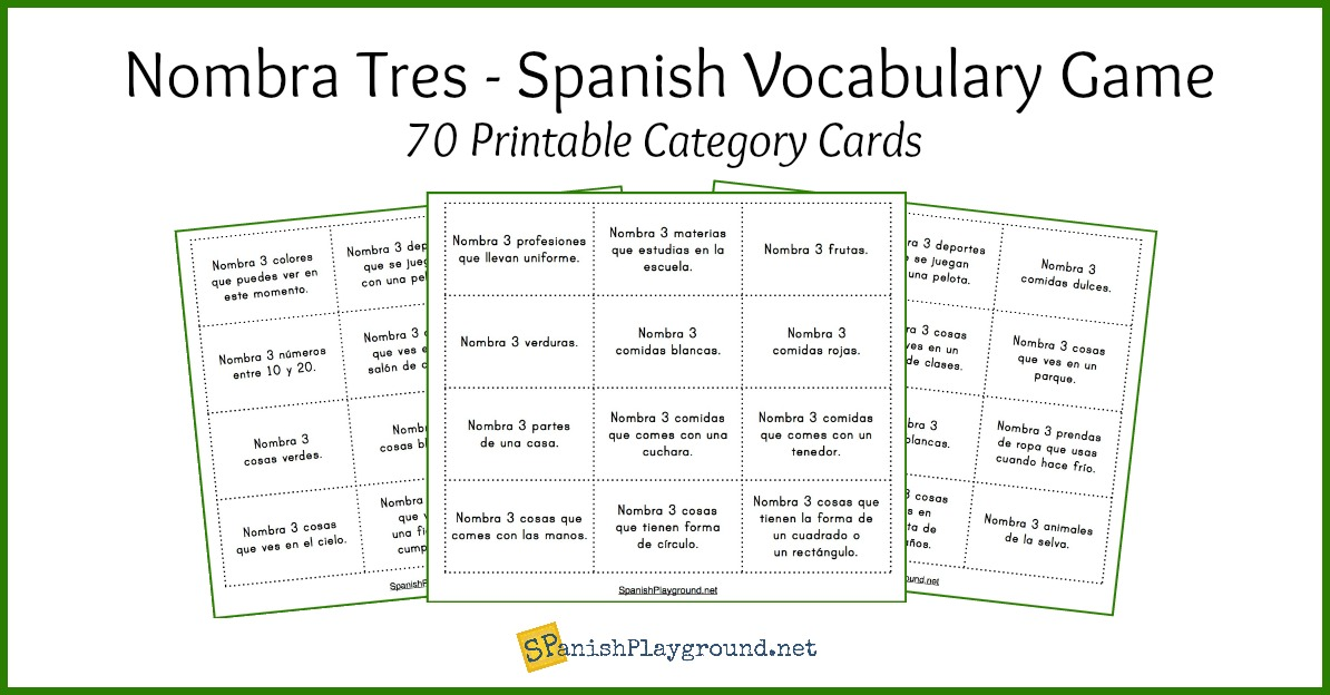 Spanish Vocabulary Game Name 3 Things Spanish Playground
