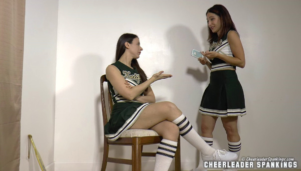 Sarah Gregory and Jordana Leigh in Social Media Spanking at Cheerleader Spankings