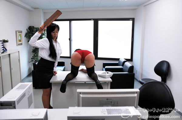 Female office worker gets punished in gym outfit on the desk