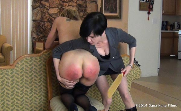 Agatha's bottom gets very red from the paddle
