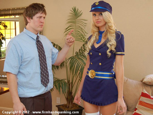 Beautiful flight attendant Adrienne Black gets told off by her boss
