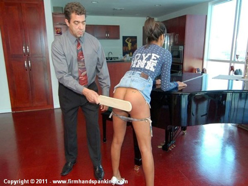 Annabelle Vanderwood gets an eye-watering bare bottom paddling to help her control her temper