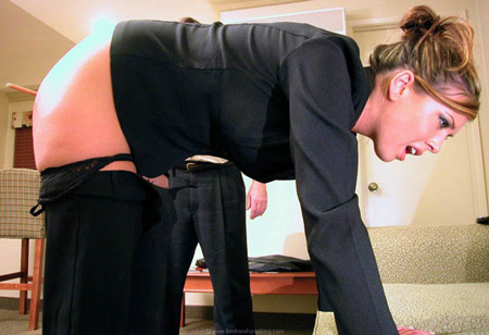 Natasha Peachey bends over with a bare bottom for the cane