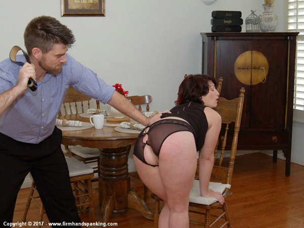 Katya Nostrovia bends over and gets punished with the belt in Sugar Daddy