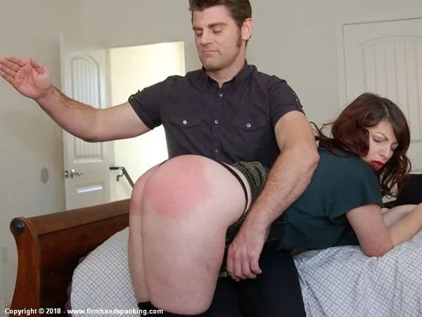 Katya Nostrovia's big bottom spanked OTK in a tiny black thong on the bed