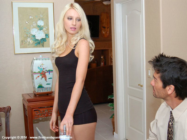 Adrienne Black looking smoking hot in tight black hotpants before she is strapped
