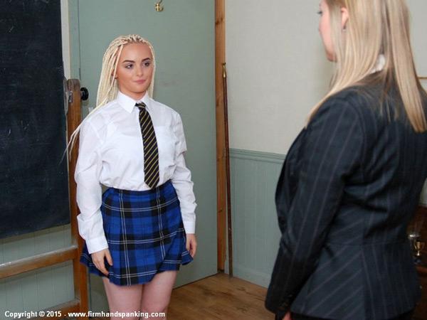 New spanking model Sascha Bennet and Principal Belinda Lawson