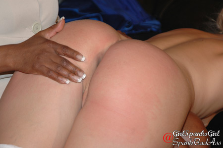 Finally Lana gets Amelia in the OTK position for her spanking