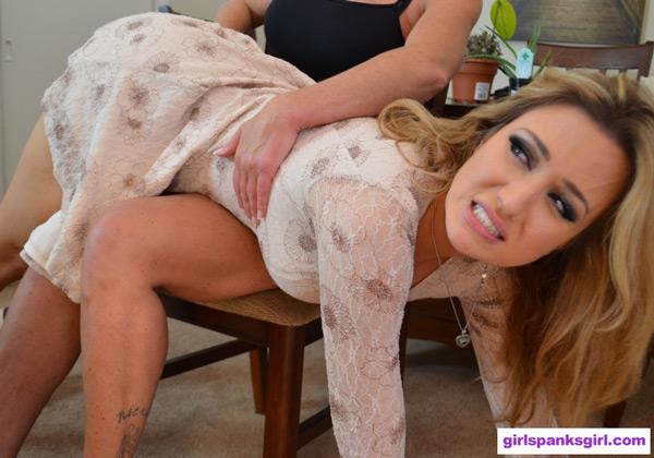 Christina spanks Angela Sommers OTK
