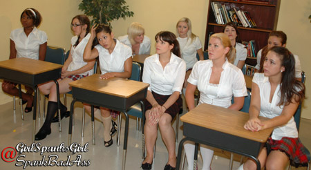 A classroom full of naughty babes