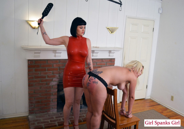 Bella Bathory gets paddled in her first ever spanking scene