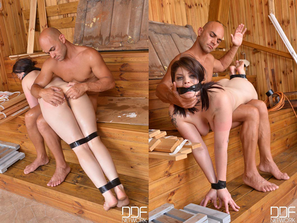 Brunette Lucia Love gets an OTK M/F spanking in Cosmos of Punishment