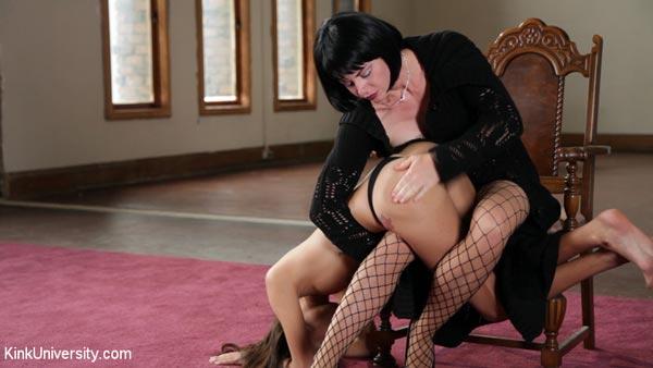 Mistress January Frost spanks Janice Griffith