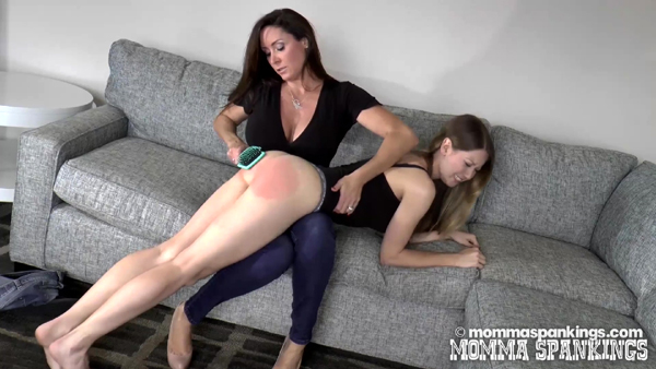 Mom spanks Chrissy Marie's bare bottom with a hairbrush OTK