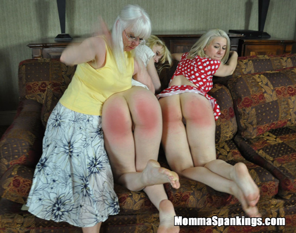 Amelia and Sarah Gregory get spanked side-by-side for not wearing panties