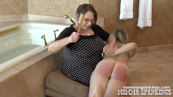 Stevie gets dealt with very firmly by Miss Elizabeth who really lays into her bare bottom with a bath brush