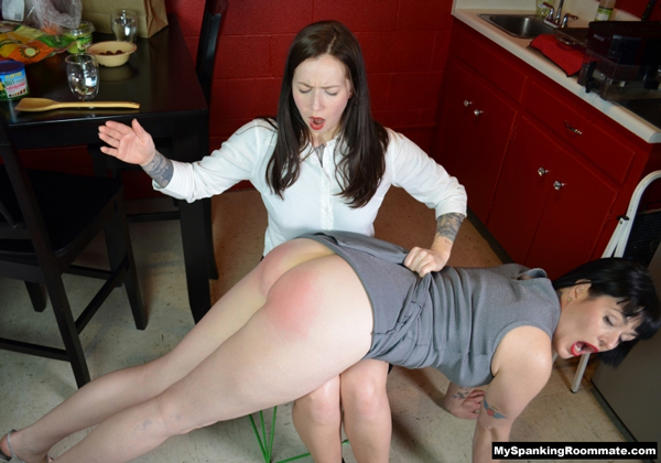 Snow Mercy spanked by her Niece, Amelie, on her bare bottom