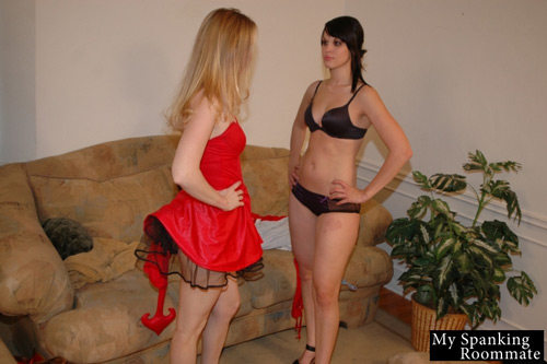 Kailee looks hot in her black lingerie but it looks like Chloe Elise is in trouble