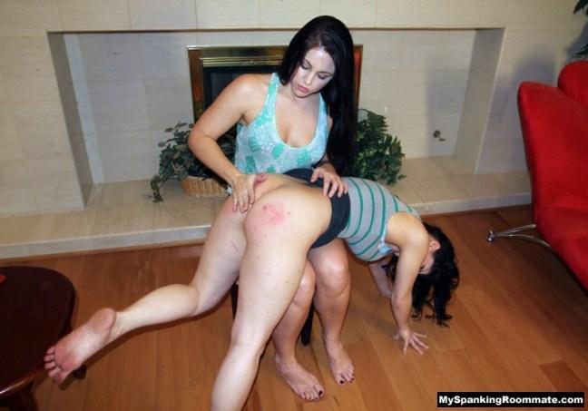 Madison Martin spanks Kay Richards over her knee