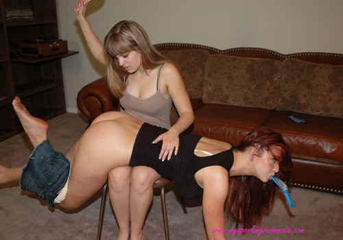 Missy spanks Veronica for breaking a new year's resolution