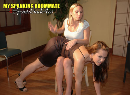 Madison goes over Harmony's knee for a sound spanking