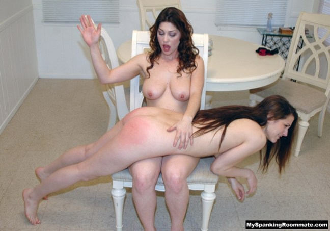 Addie Juniper gets a nude spanking from Kay Richards