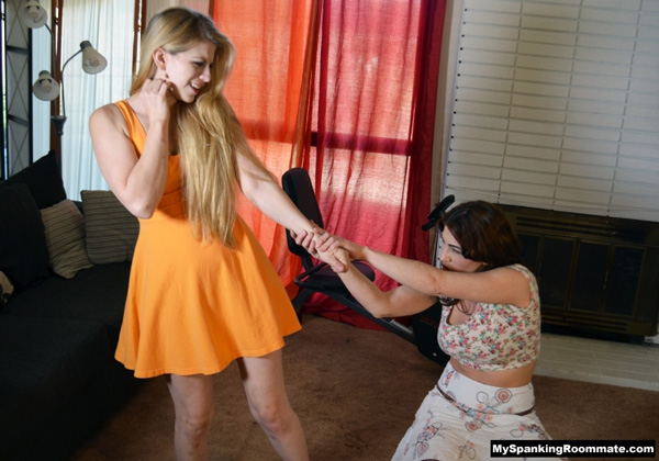 Kay Richards pulls Harley Havik over her knee at My spanking Roommate