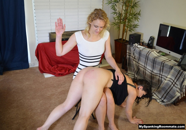 Mia Vallis spanks Kymberly Jane OTK