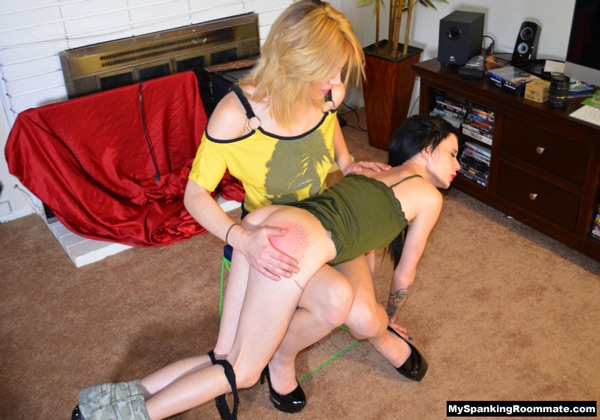 Persephone Adams gets spanked by Courtney Shea and gets a bright red, sore bottom