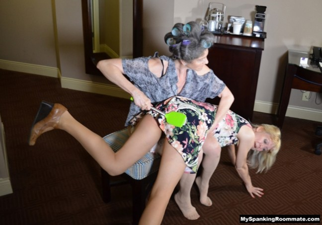 Samantha B flips Clare Fonda over her knee and spanks her with different implements