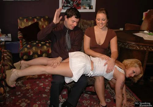 Sara Faye goes across two laps and gets a good spanking