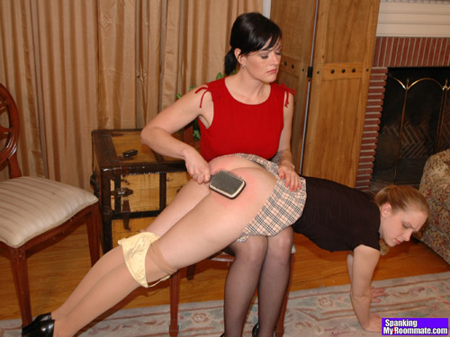 Chloe Elise's hard OTK spanking ends up with the hairbrush on her naughty bare bottom