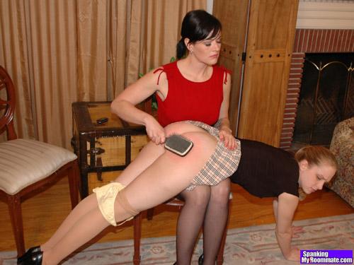 Chloe Elise's hard OTK spanking ends up with the hairbrush on her naughty bare bottom
