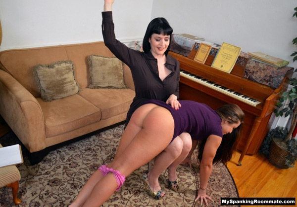Snow Mercy spanks Madison Martin's big, tanned bottom