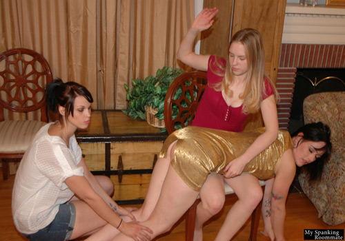 Chloe and Kailee gang up and spank Snow Mercy