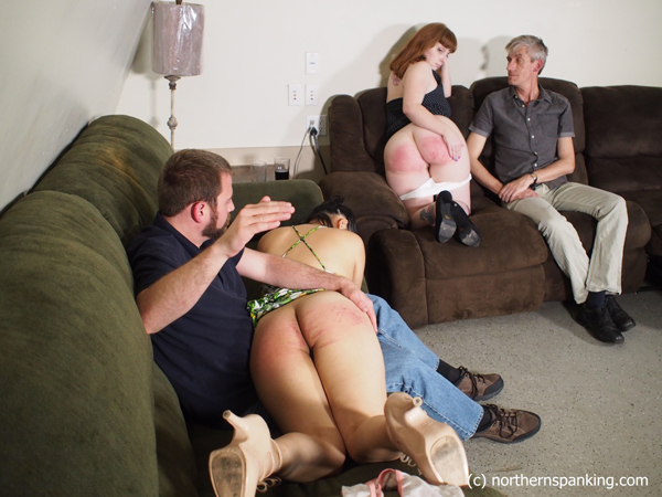 Ginger rubs her sore bottom as Koko Kitten gets spanked too