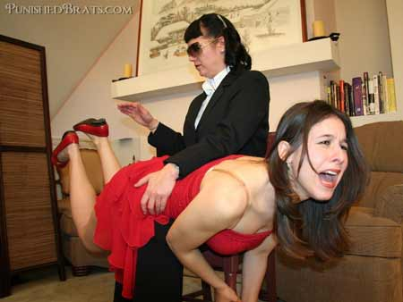 Sarah Gregory gets a firm F/F OTK spanking