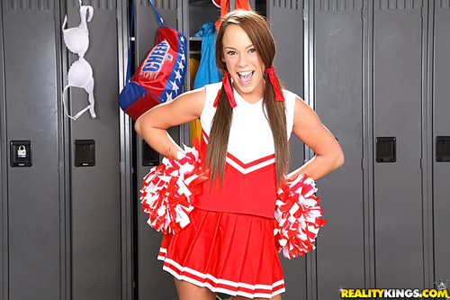 Cute 18-year-old cheerleader Haley Sweet in pigtails
