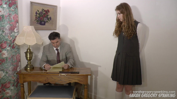 Apricot Pitts is spanked to tears by headmaster John Osborne