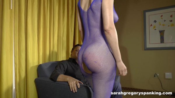 Audrey's rudeness and attitude earns her round bottom a spanking in the crotchless body suit