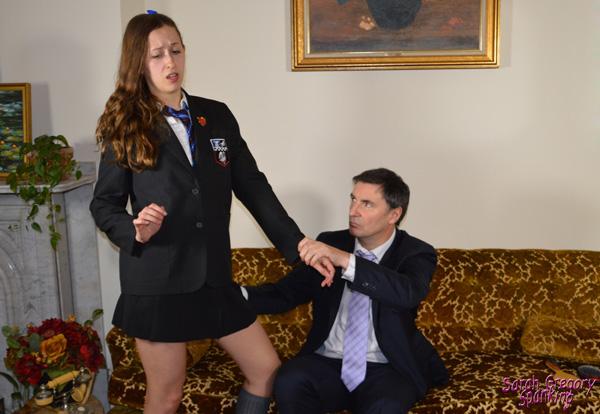 Joelle Barros gets pulled over John's knee in her school uniform