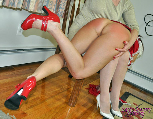 Grandma gives little red riding hood a good over the knee spanking