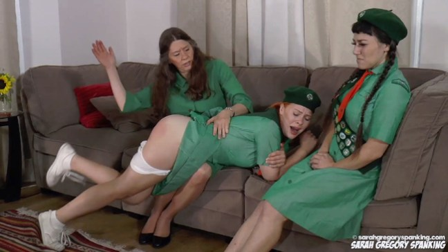 Miss Bernadette spanks Stevie Rose and Elori Stix at Sarah Gregory Spanking