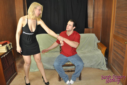 Sarah Gregory's brother takes her over his knee